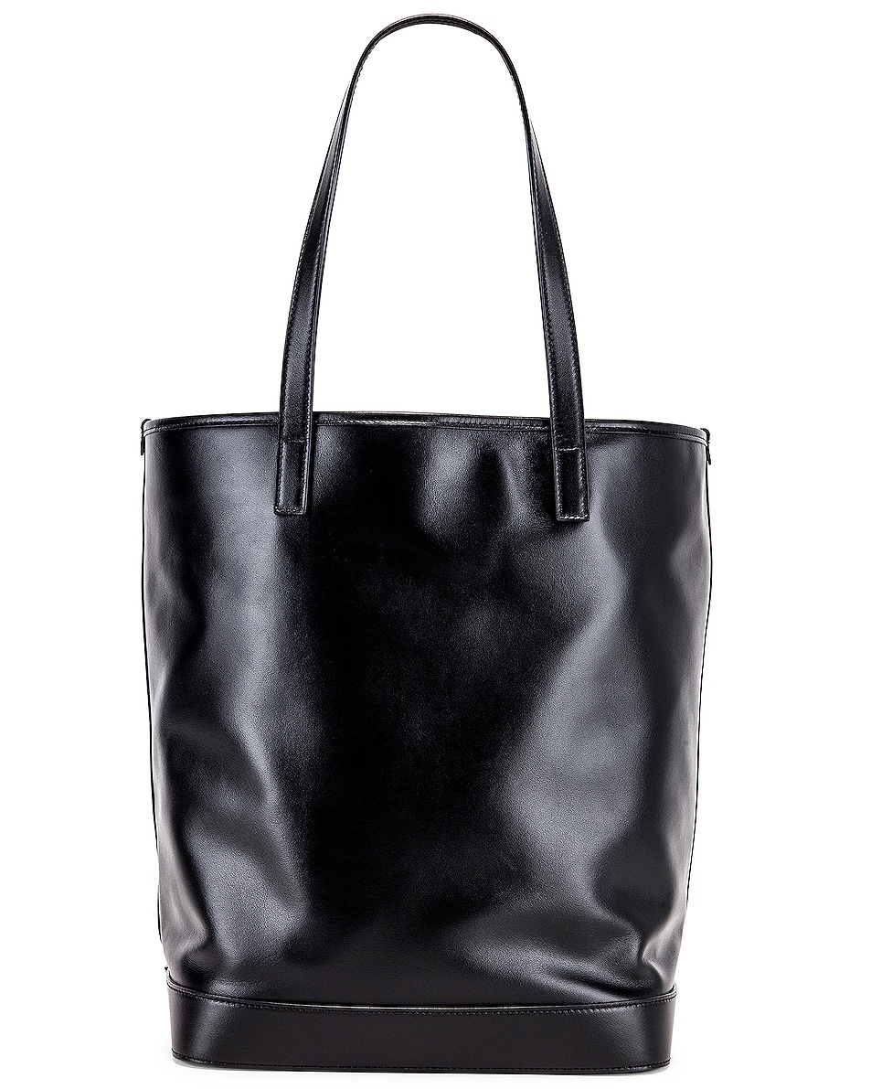 Image 3 of Saint Laurent Teddy Detachable Pouch Shopping Tote in Black & Black