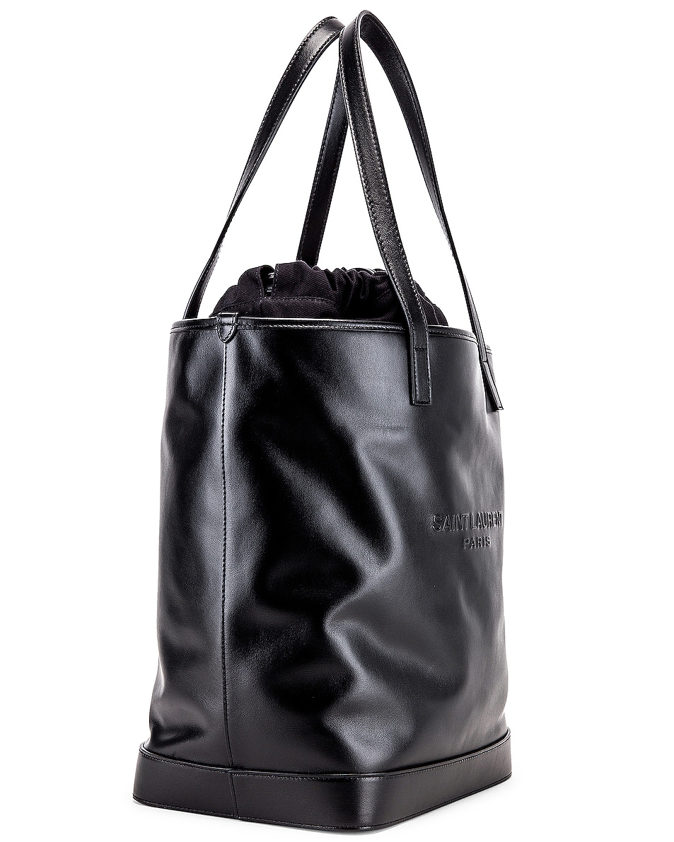 Image 4 of Saint Laurent Teddy Detachable Pouch Shopping Tote in Black & Black