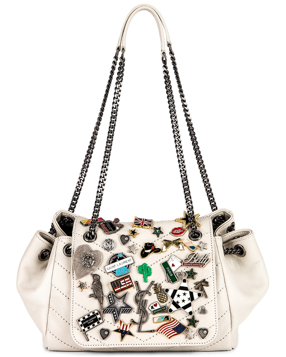 1ae7ab142ab1 Image 1 of Saint Laurent Small Nolita Chain Pin Bag in Blanc Vintage