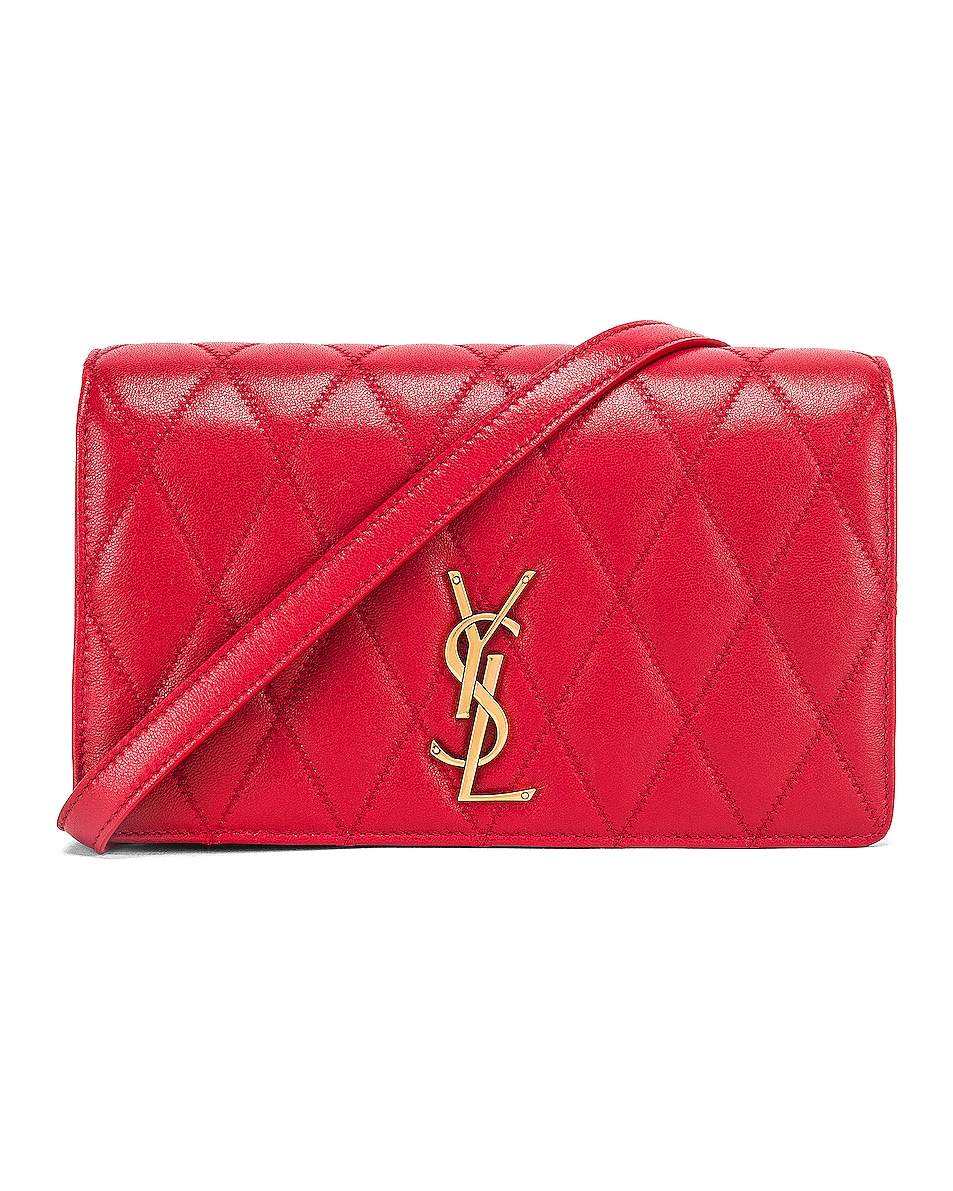 Image 1 of Saint Laurent Angie Chain Bag in Rouge Eros