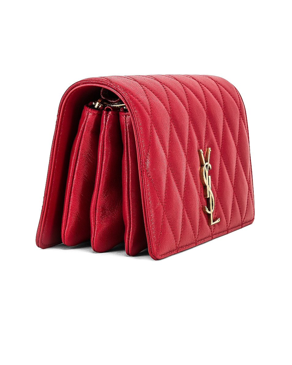 Image 4 of Saint Laurent Angie Chain Bag in Rouge Eros