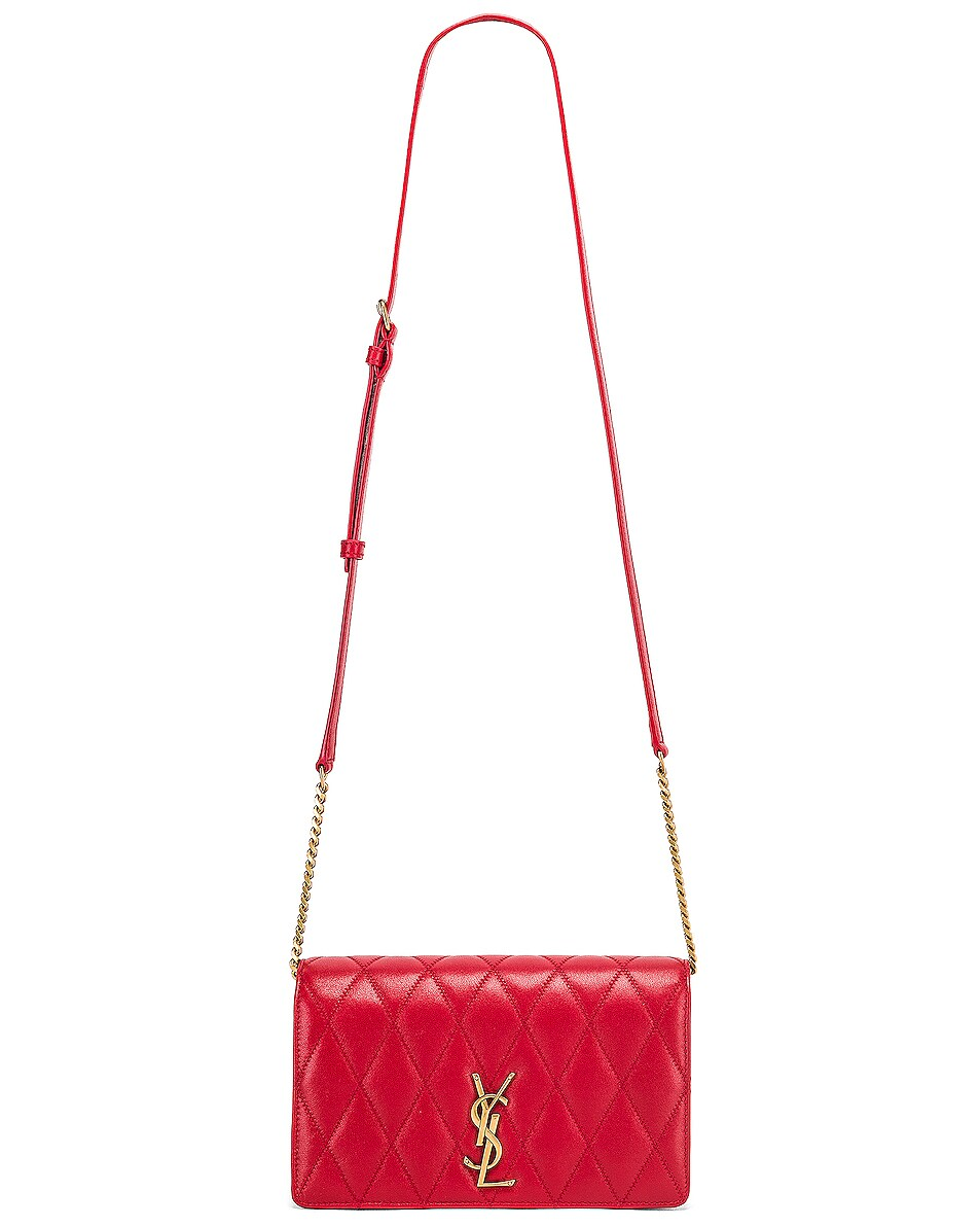 Image 6 of Saint Laurent Angie Chain Bag in Rouge Eros