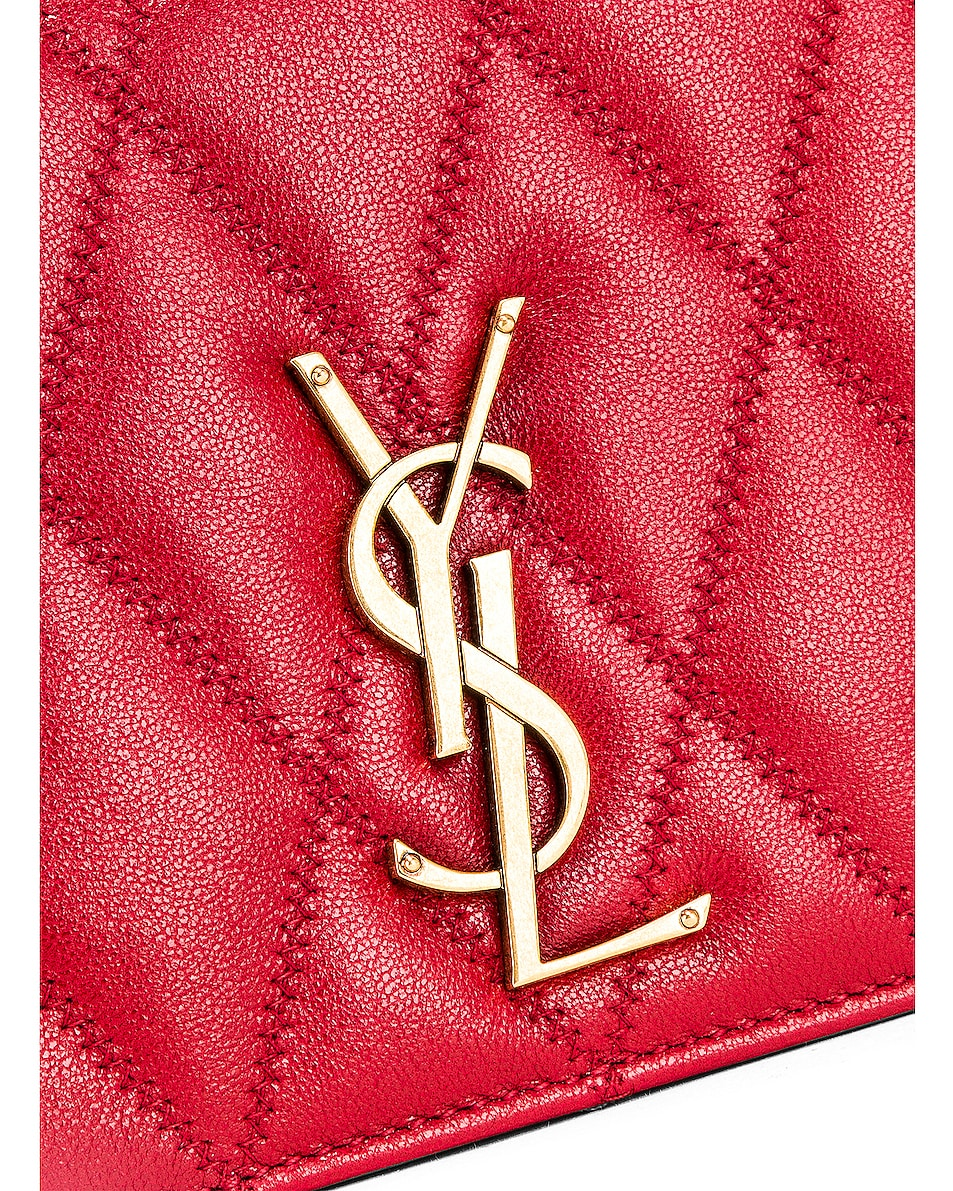 Image 7 of Saint Laurent Angie Chain Bag in Rouge Eros
