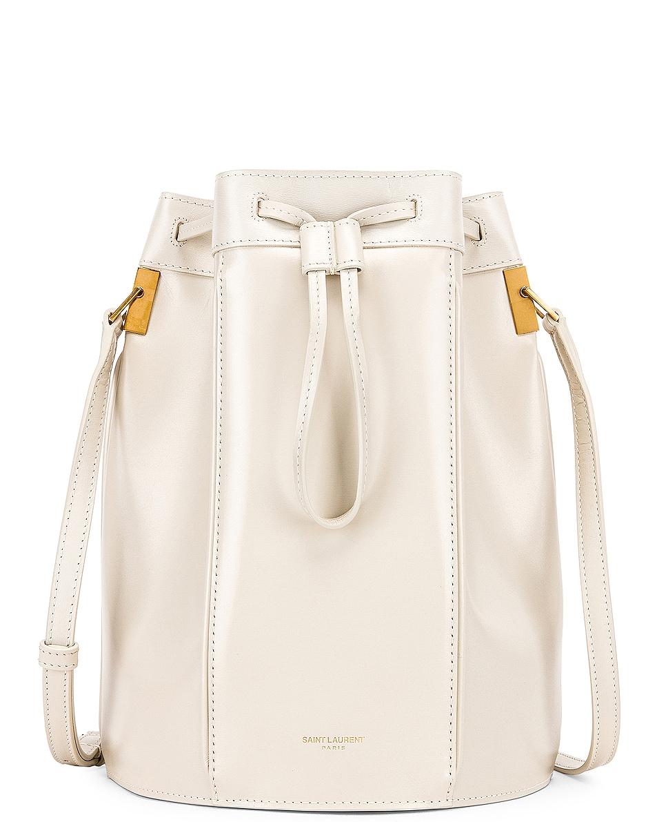 Image 1 of Saint Laurent Medium Talitha Bucket Bag in Blanc Vintage