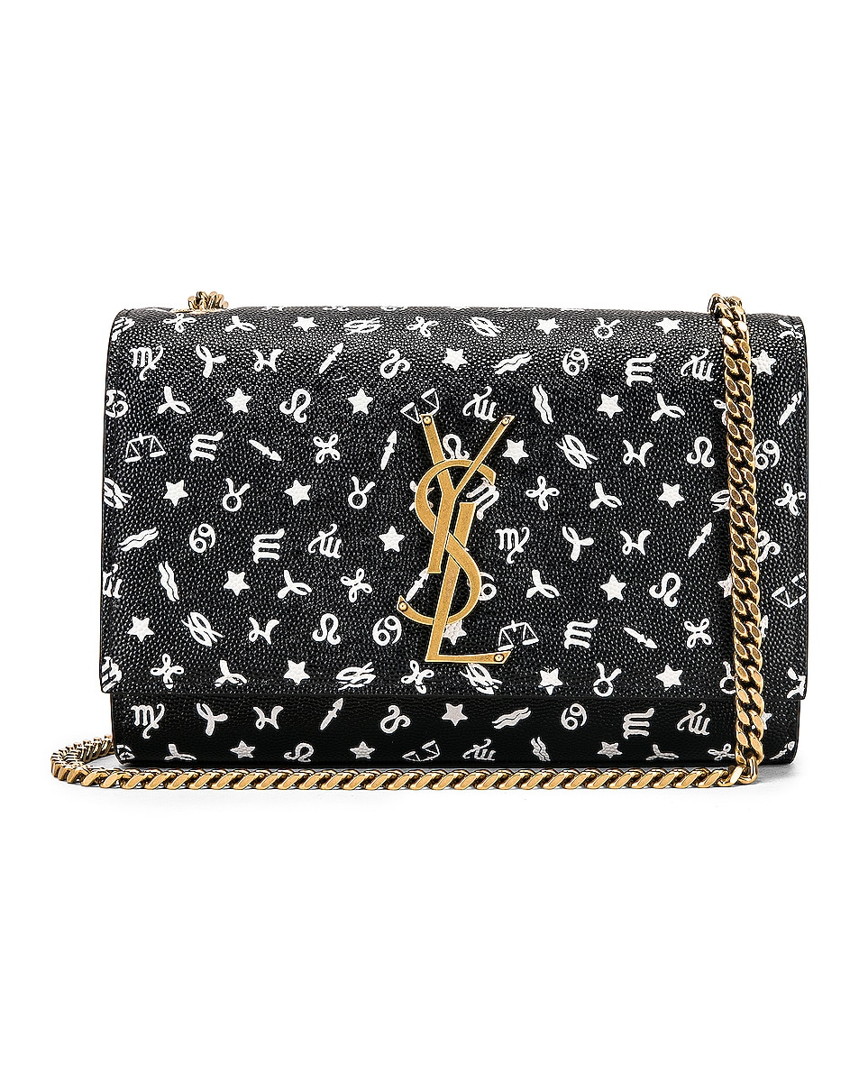 Image 1 of Saint Laurent Small Kate Zodiac Chain Bag in Black & White