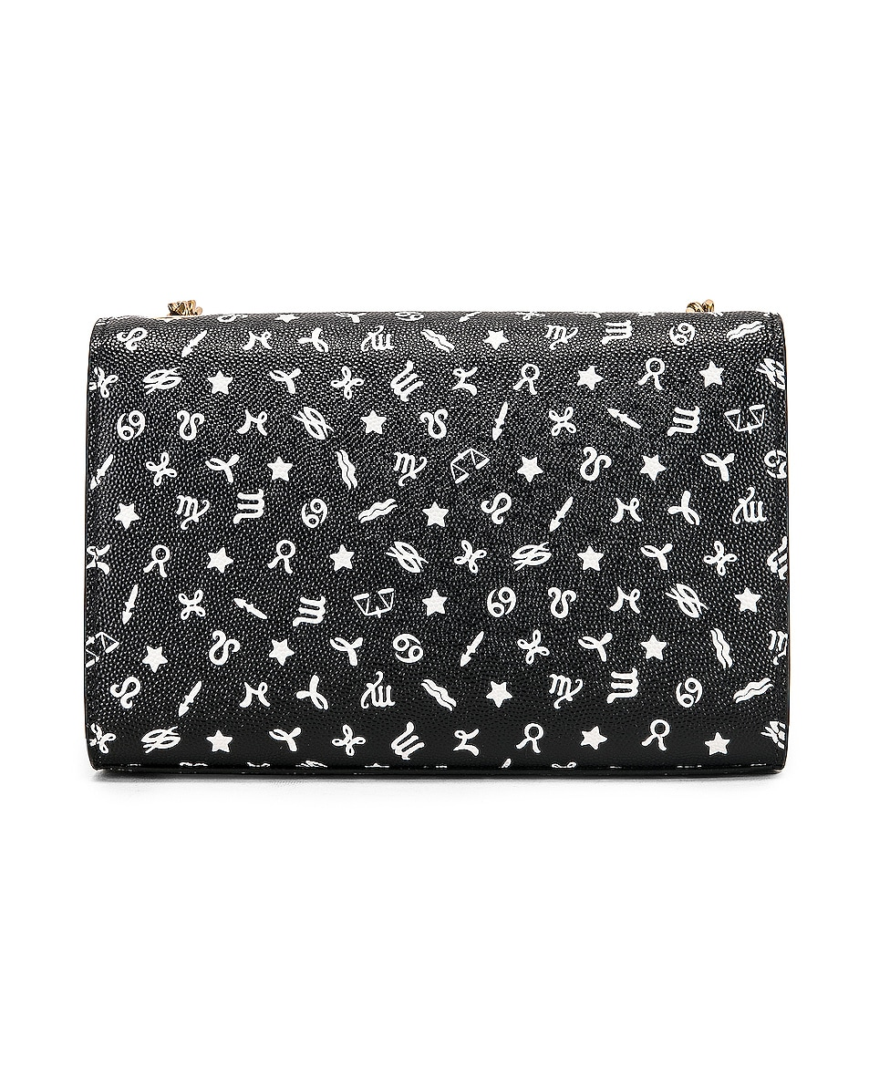 Image 3 of Saint Laurent Small Kate Zodiac Chain Bag in Black & White
