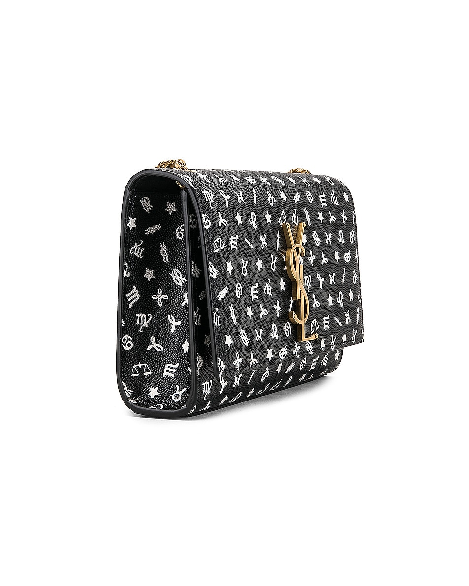 Image 4 of Saint Laurent Small Kate Zodiac Chain Bag in Black & White