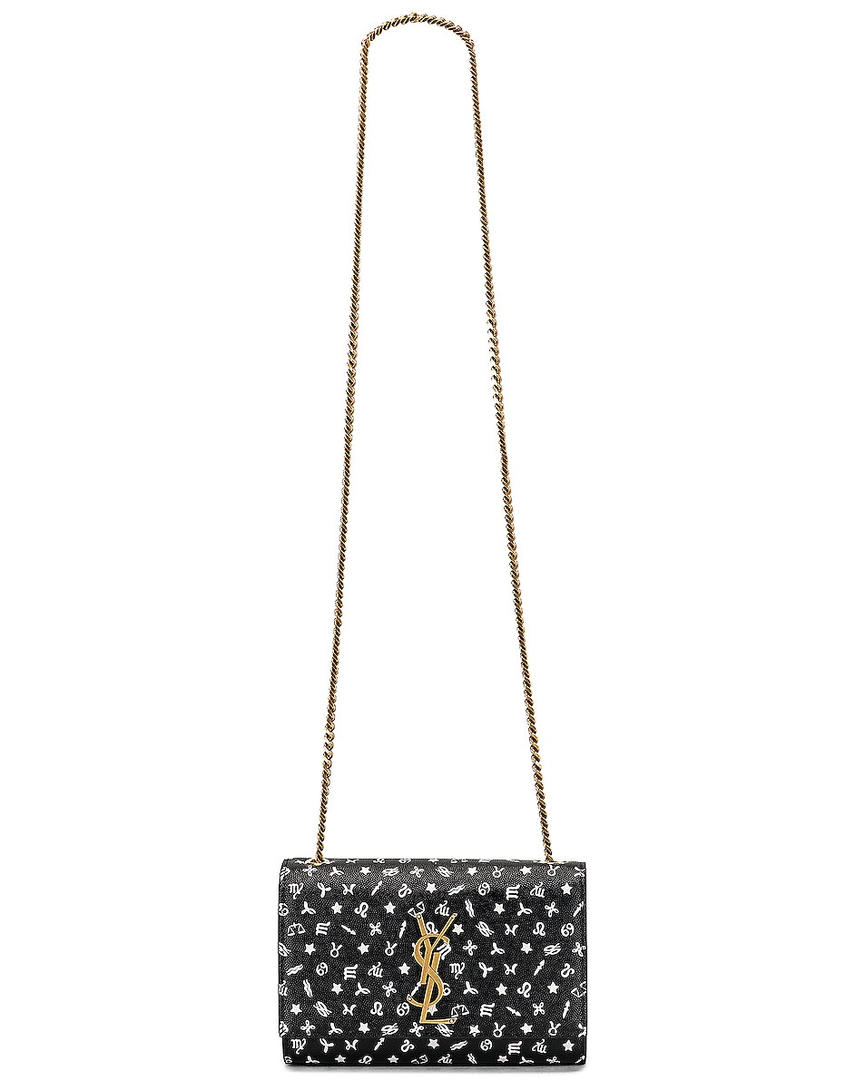Image 6 of Saint Laurent Small Kate Zodiac Chain Bag in Black & White