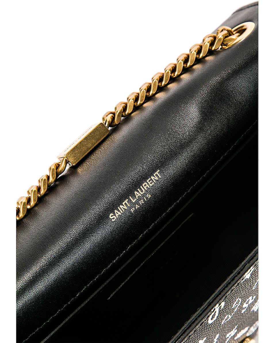 Image 7 of Saint Laurent Small Kate Zodiac Chain Bag in Black & White