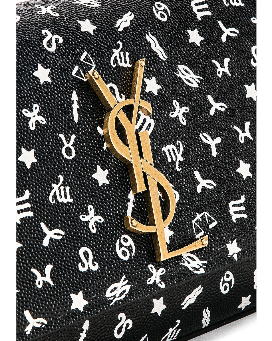 Image 8 of Saint Laurent Small Kate Zodiac Chain Bag in Black & White