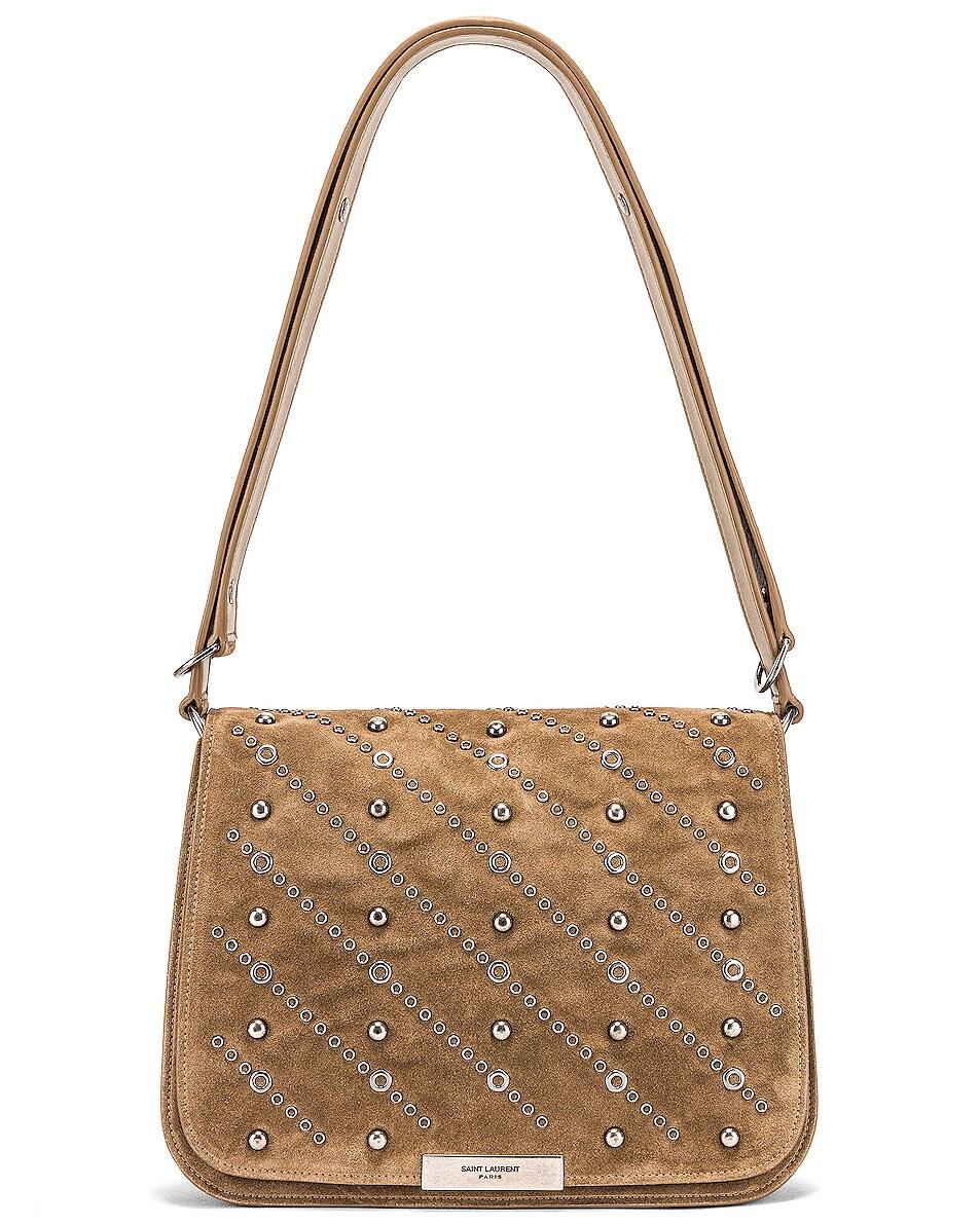 Image 1 of Saint Laurent Amalia Stud Satchel Bag in Beige Vintage