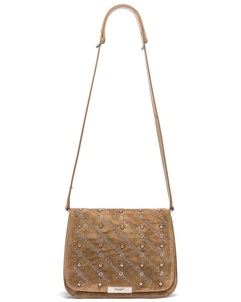 Image 5 of Saint Laurent Amalia Stud Satchel Bag in Beige Vintage