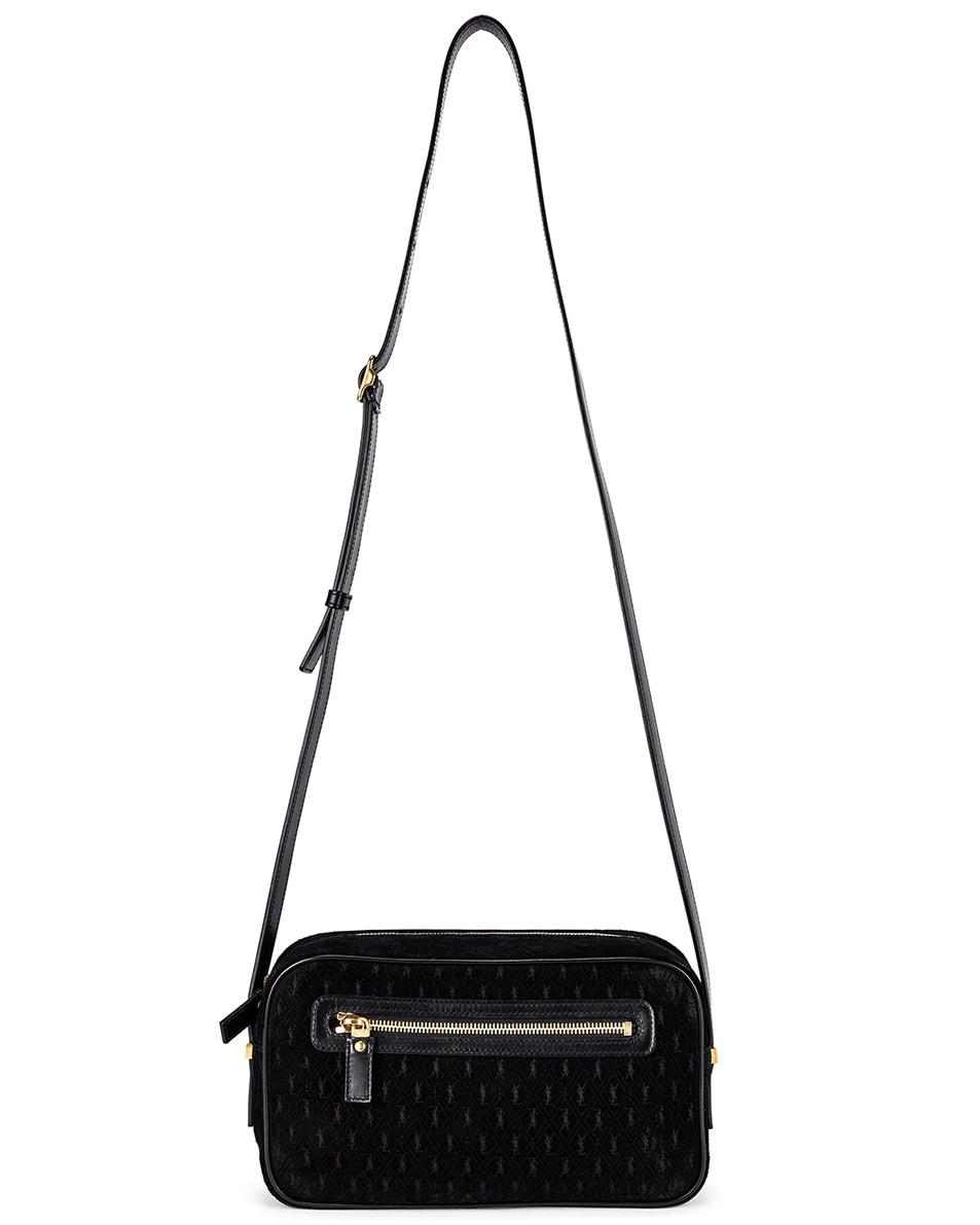 Image 1 of Saint Laurent Suede Monogramme Camera Bag in Black