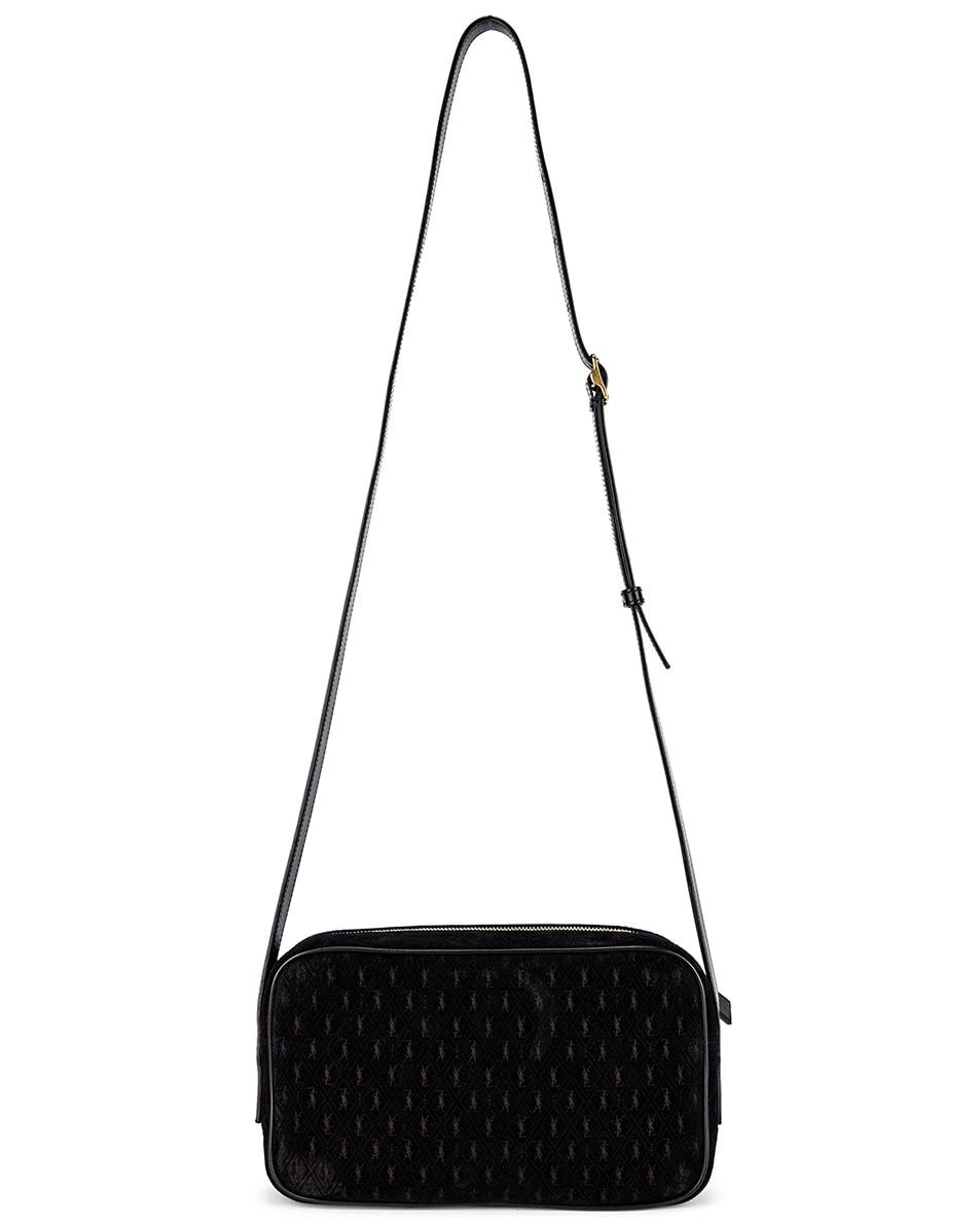 Image 2 of Saint Laurent Suede Monogramme Camera Bag in Black
