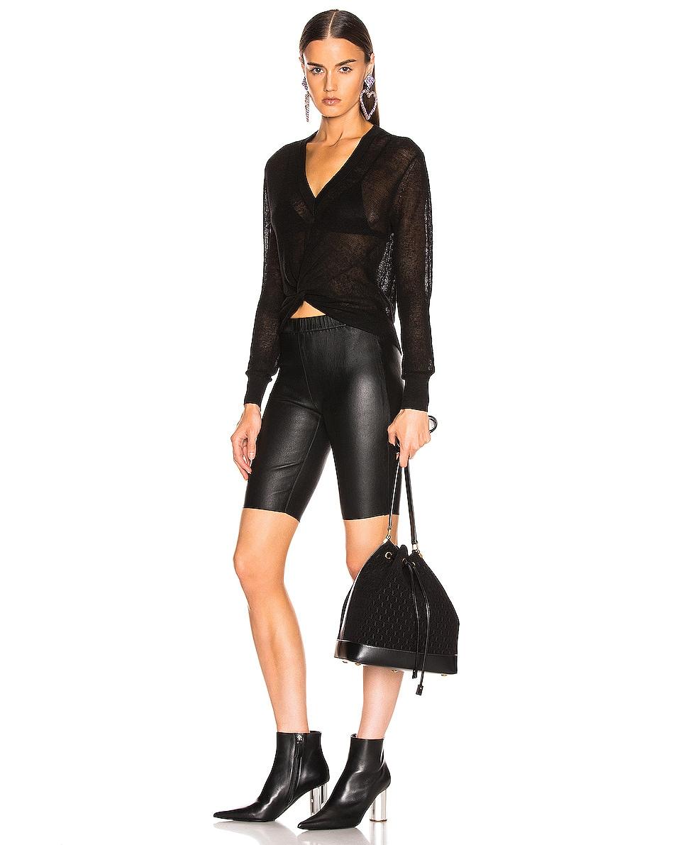Image 2 of Saint Laurent Suede Monogramme Bucket Bag in Black