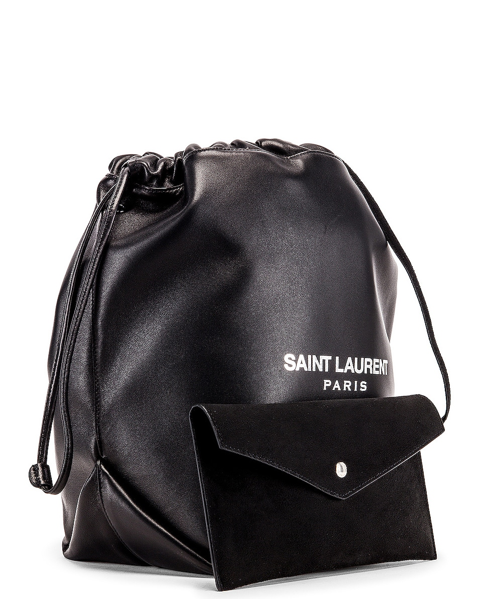 Image 4 of Saint Laurent Supple Logo Teddy Pouch in Black