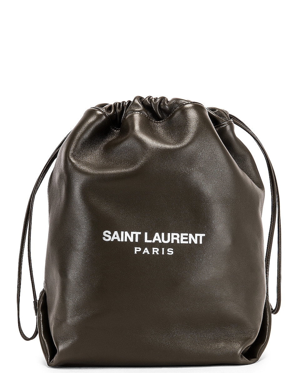 Image 1 of Saint Laurent Supple Logo Teddy Pouch in Dark Tea