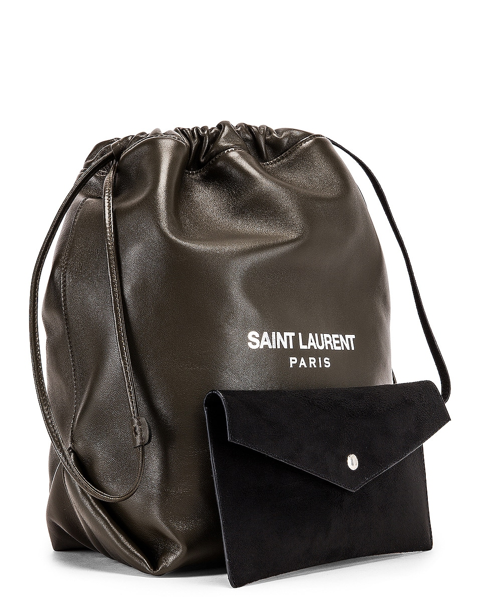 Image 4 of Saint Laurent Supple Logo Teddy Pouch in Dark Tea