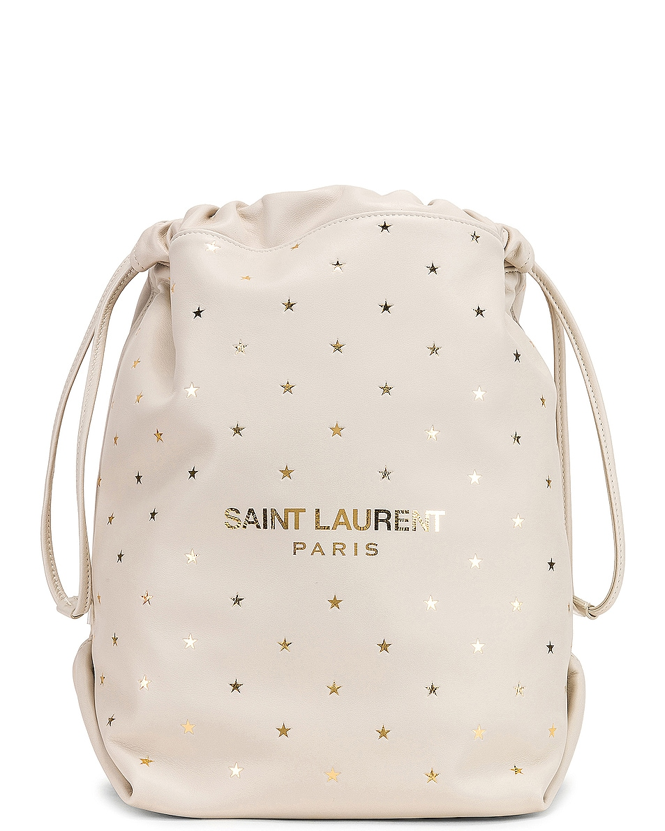 Image 1 of Saint Laurent Supple Logo Teddy Polka Dot Pouch in Blanc Vintage & Gold