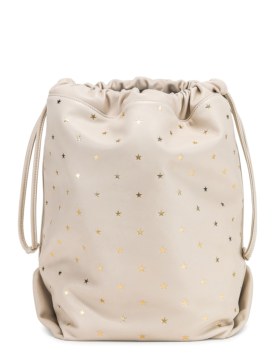 Image 3 of Saint Laurent Supple Logo Teddy Polka Dot Pouch in Blanc Vintage & Gold