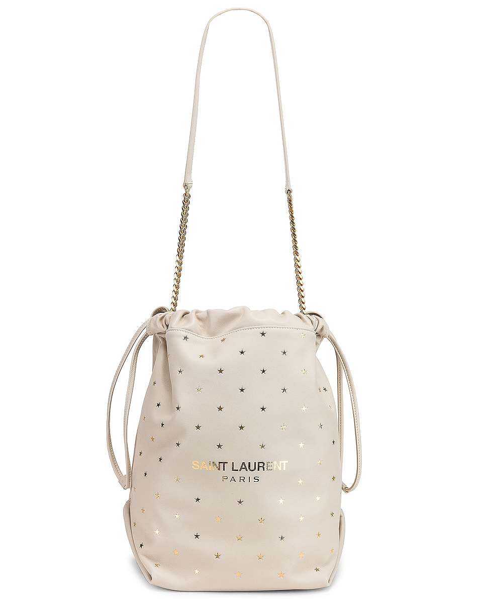 Image 6 of Saint Laurent Supple Logo Teddy Polka Dot Pouch in Blanc Vintage & Gold
