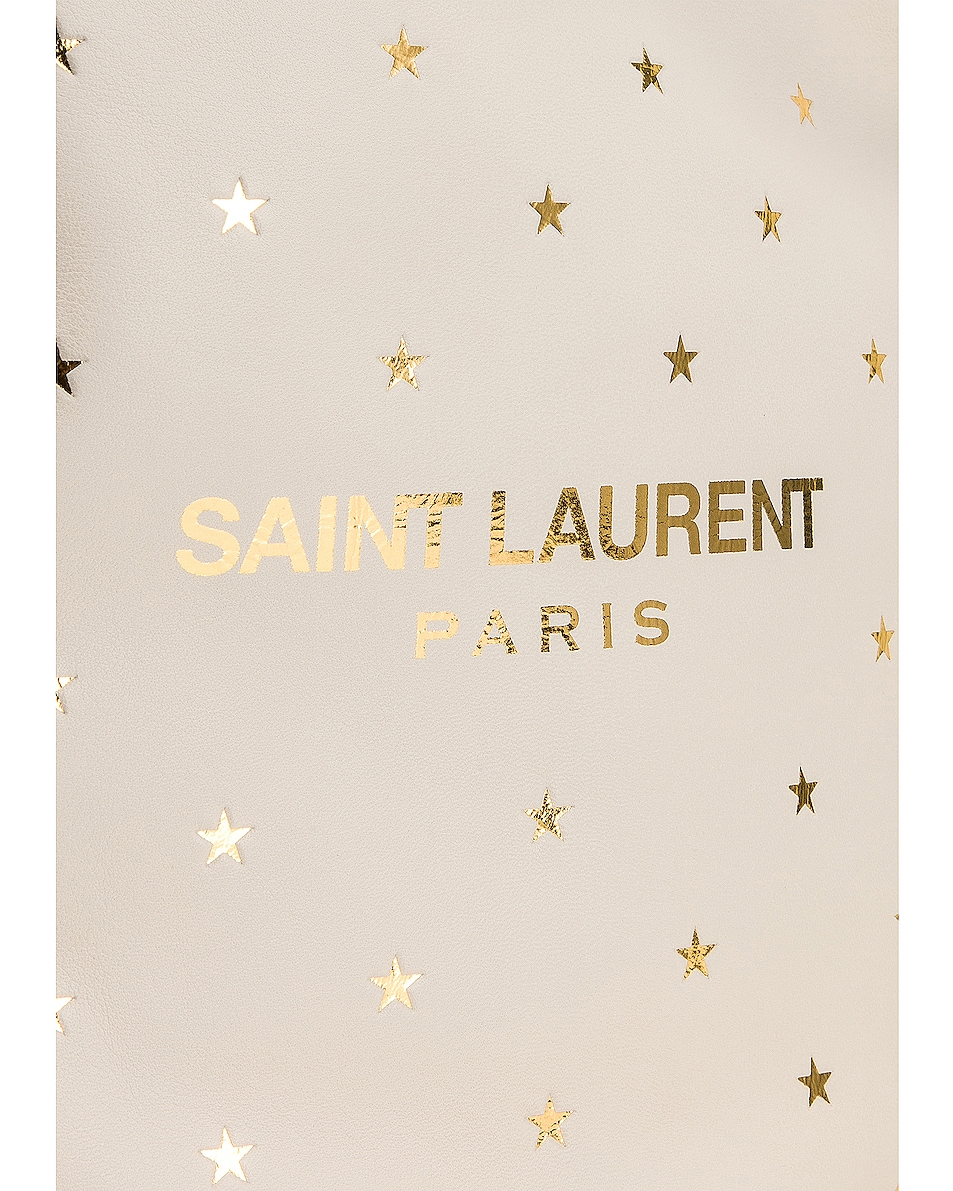 Image 7 of Saint Laurent Supple Logo Teddy Polka Dot Pouch in Blanc Vintage & Gold
