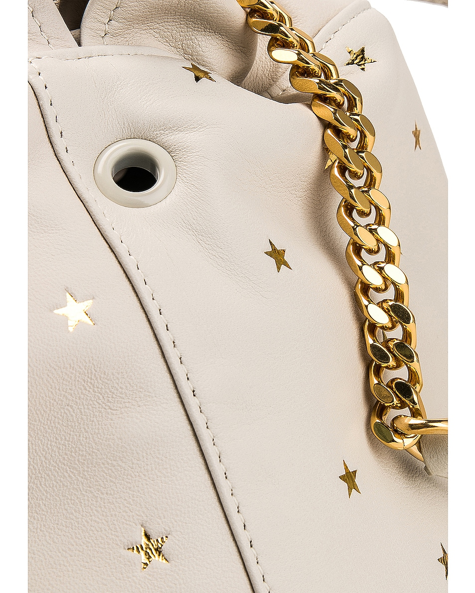 Image 8 of Saint Laurent Supple Logo Teddy Polka Dot Pouch in Blanc Vintage & Gold