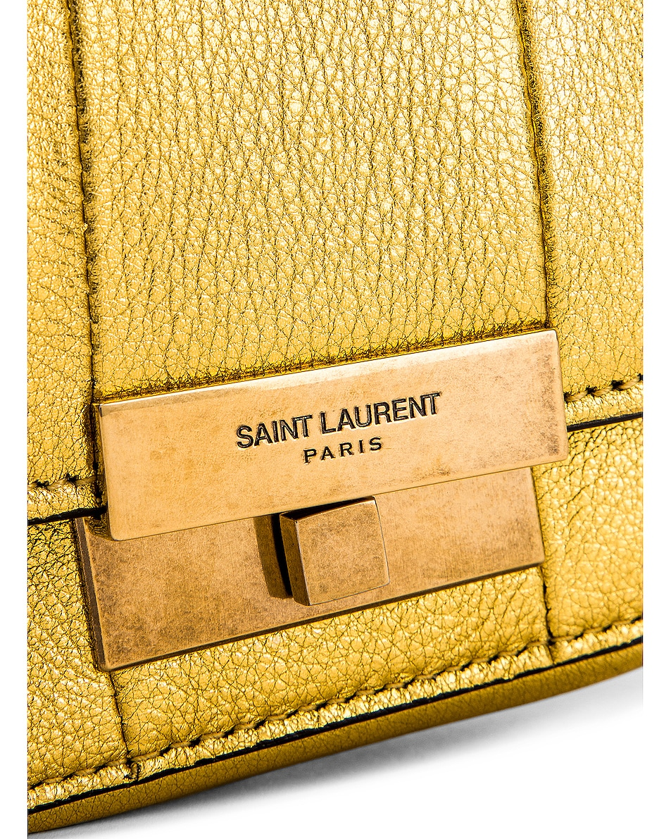 Image 8 of Saint Laurent Mini Betty Satchel Bag in Gold