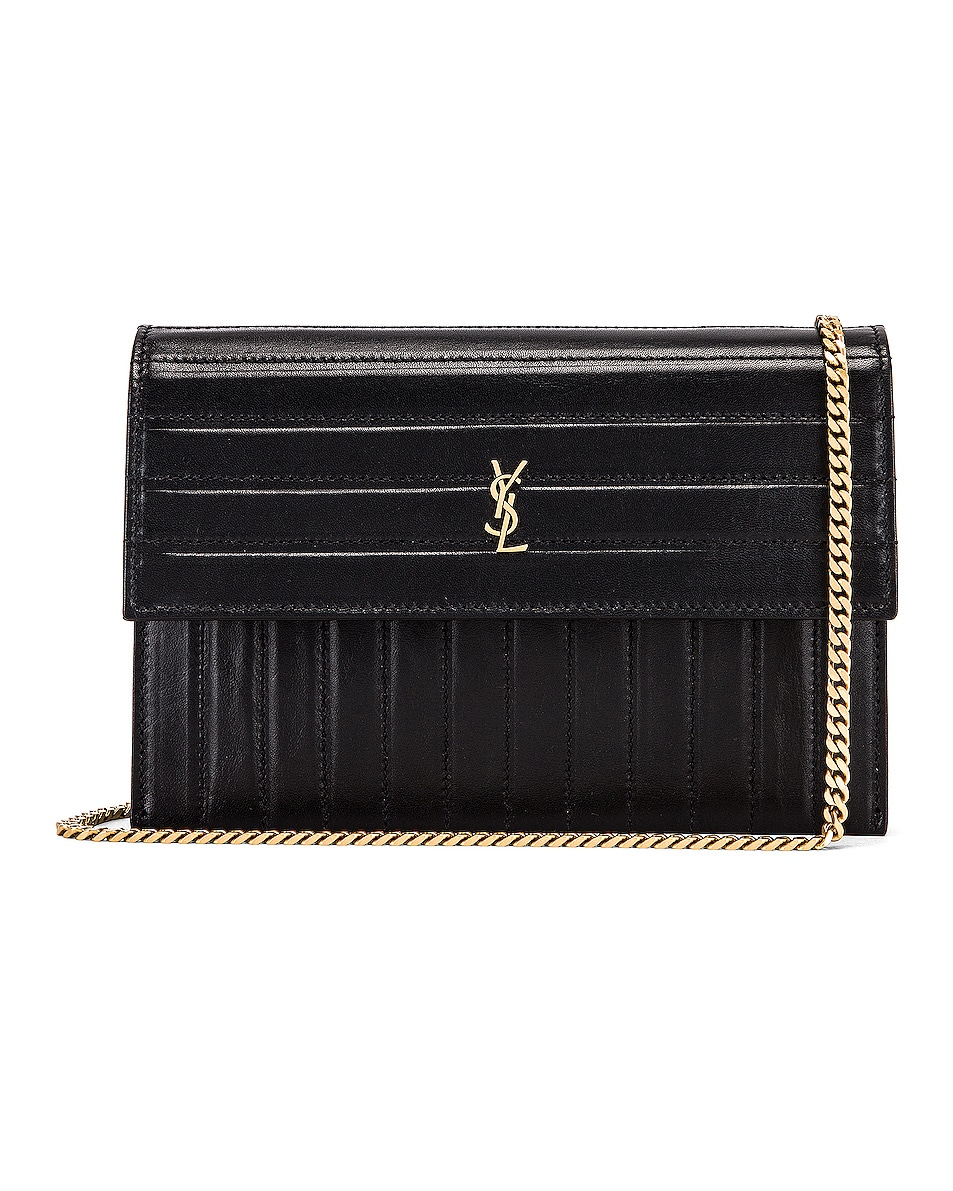 Image 1 of Saint Laurent Victoire Chain Wallet Bag in Black