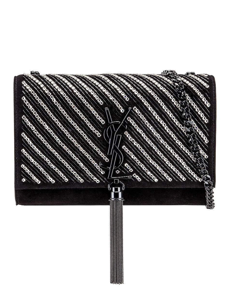 Image 1 of Saint Laurent Small Kate Chain Tassel Bag in Black & Crystal