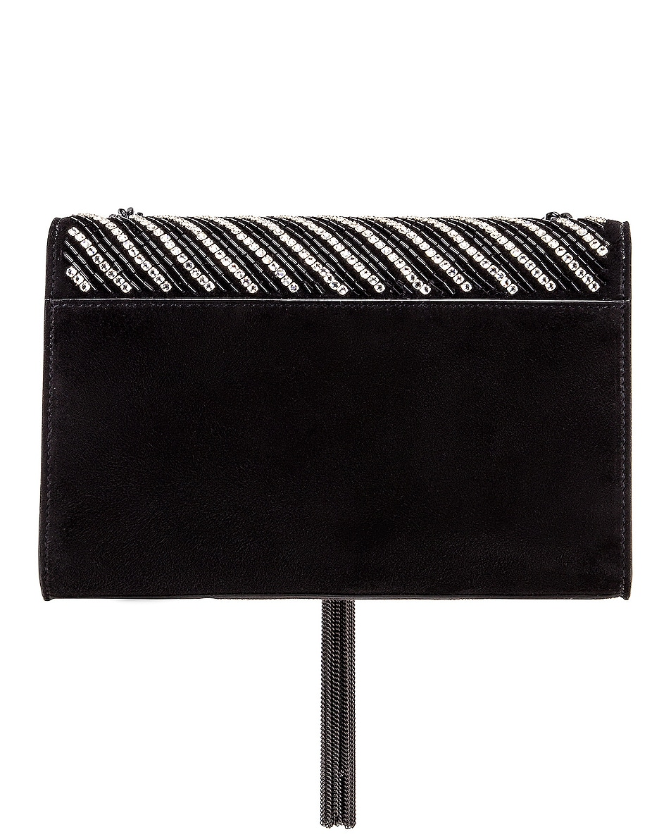 Image 3 of Saint Laurent Small Kate Chain Tassel Bag in Black & Crystal