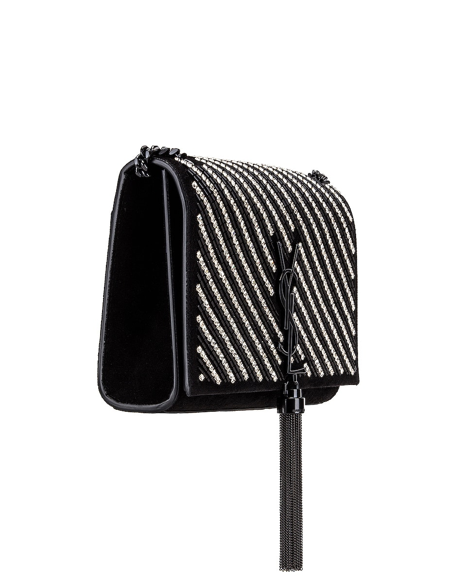 Image 4 of Saint Laurent Small Kate Chain Tassel Bag in Black & Crystal