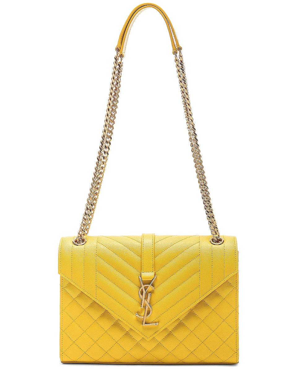 Image 5 of Saint Laurent Envelope Medium Shoulder Bag in Mimosa