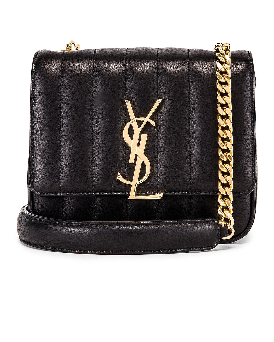 Image 1 of Saint Laurent Monogramme Vicky Shoulder Bag in Black
