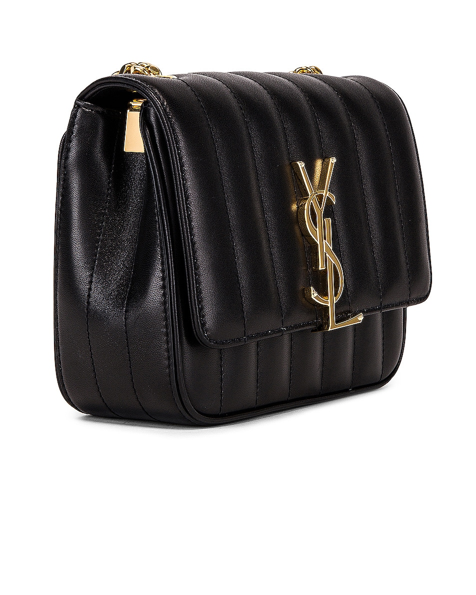 Image 4 of Saint Laurent Monogramme Vicky Shoulder Bag in Black