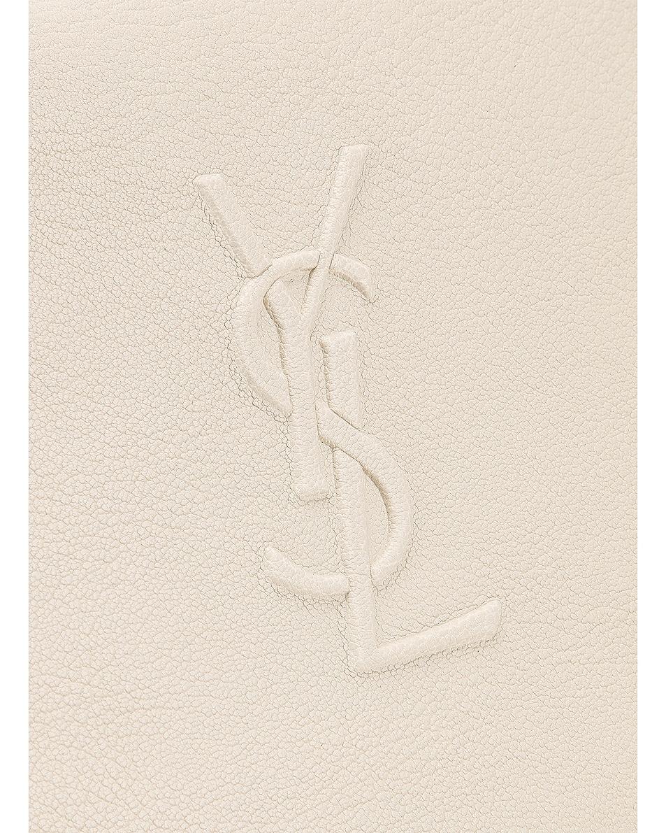 Image 8 of Saint Laurent Medium Logo Embossed Lou Satchel in Blanc Vintage