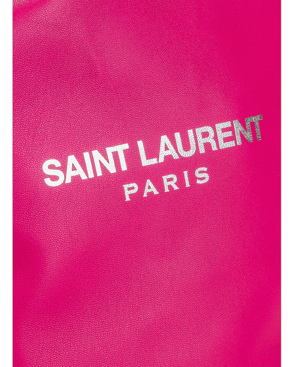 Image 7 of Saint Laurent Supple Logo Teddy Pouch in Rose Freesia