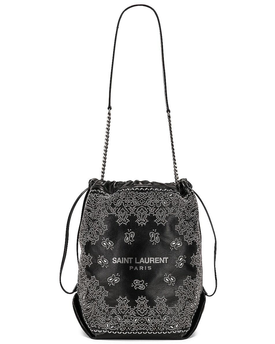 Image 6 of Saint Laurent Bandana Pouch Bag in Black