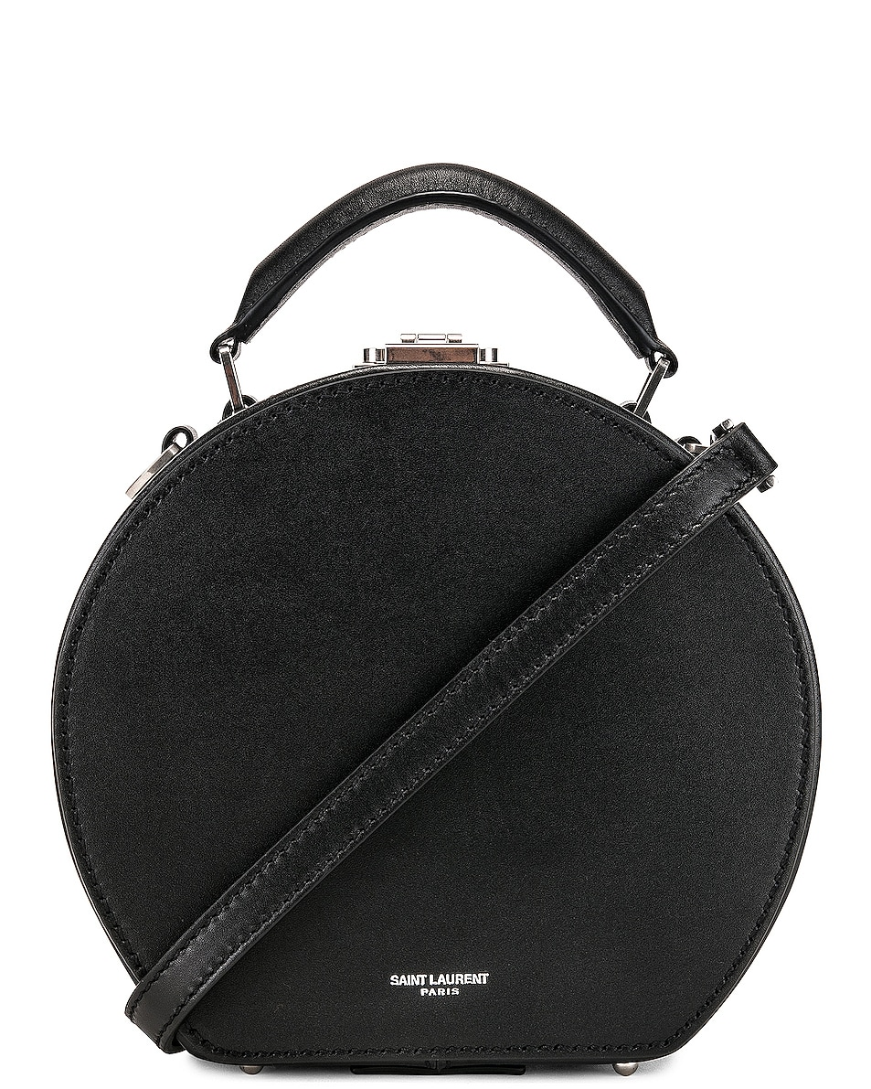 Image 1 of Saint Laurent Small Mica Hat Case in Black & Red & White