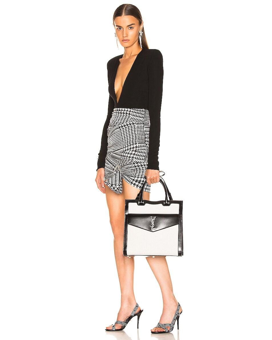 Image 2 of Saint Laurent Medium Monogramme Uptown Bag in White & Black