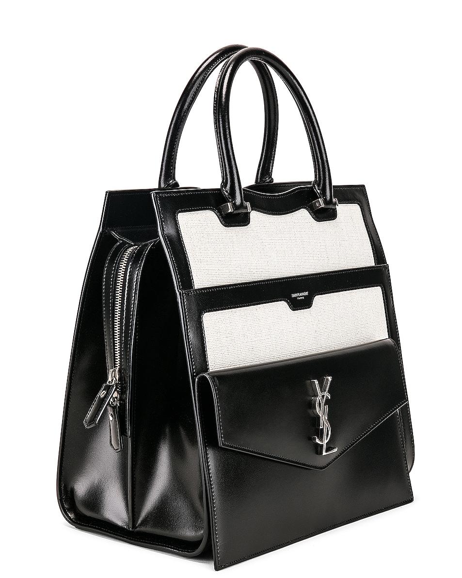Image 4 of Saint Laurent Medium Monogramme Uptown Bag in White & Black