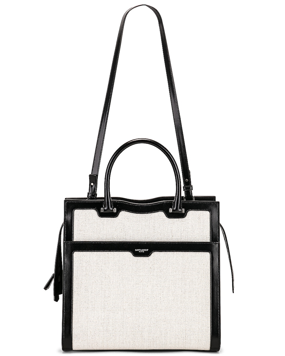 Image 6 of Saint Laurent Medium Monogramme Uptown Bag in White & Black