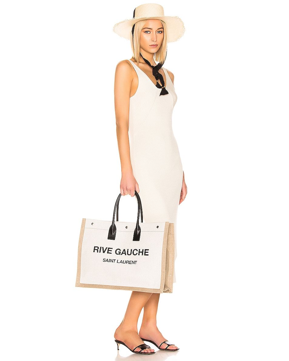 Image 2 of Saint Laurent Noe Tote Bag in White & Black