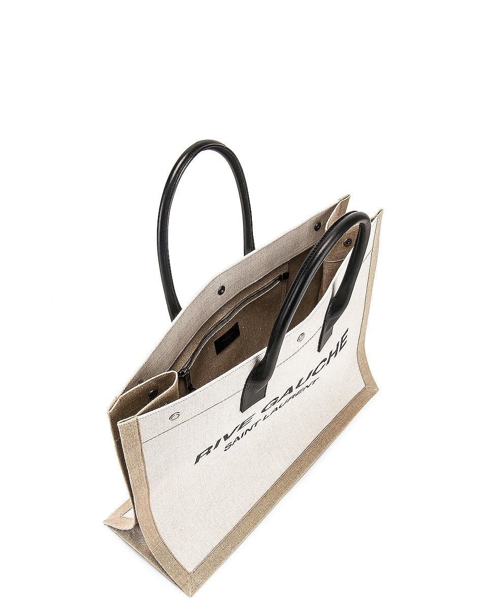 Image 5 of Saint Laurent Noe Tote Bag in White & Black