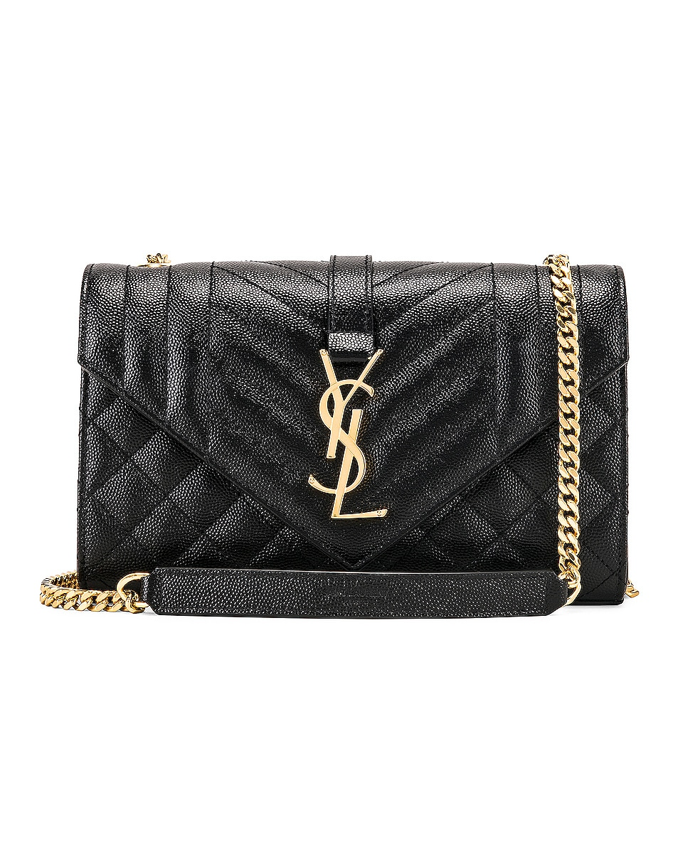 Image 1 of Saint Laurent Small Monogramme Envelope Chain Bag in Black