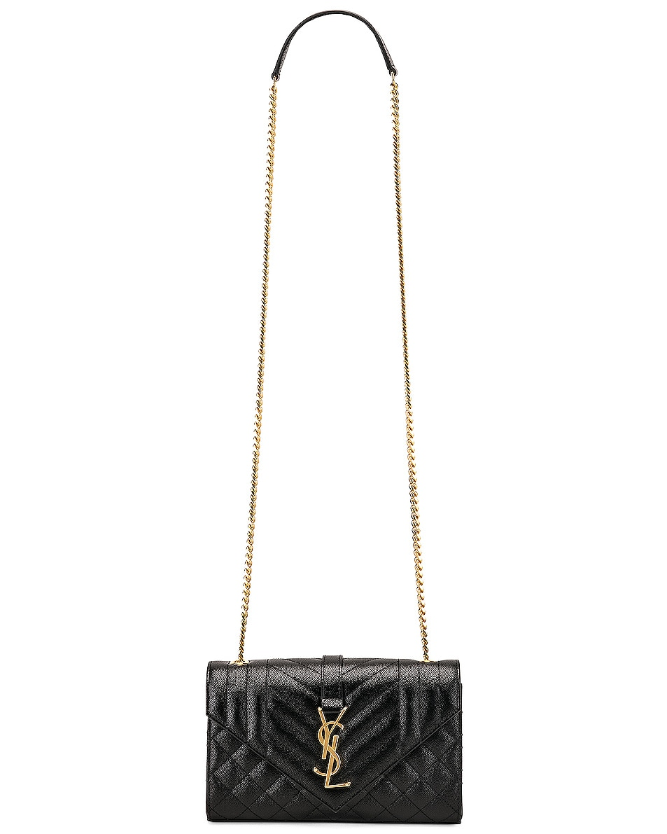 Image 6 of Saint Laurent Small Monogramme Envelope Chain Bag in Black