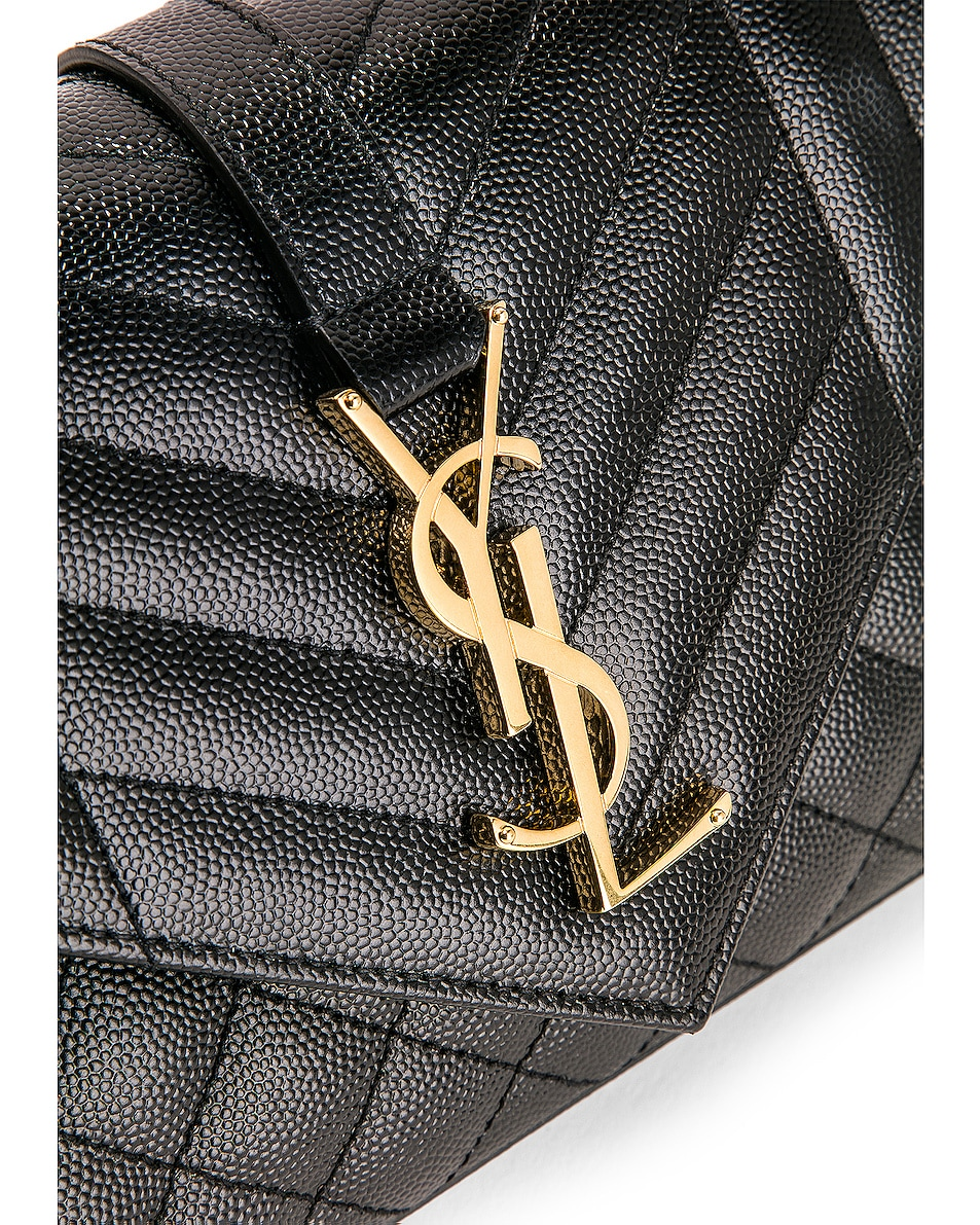Image 8 of Saint Laurent Small Monogramme Envelope Chain Bag in Black