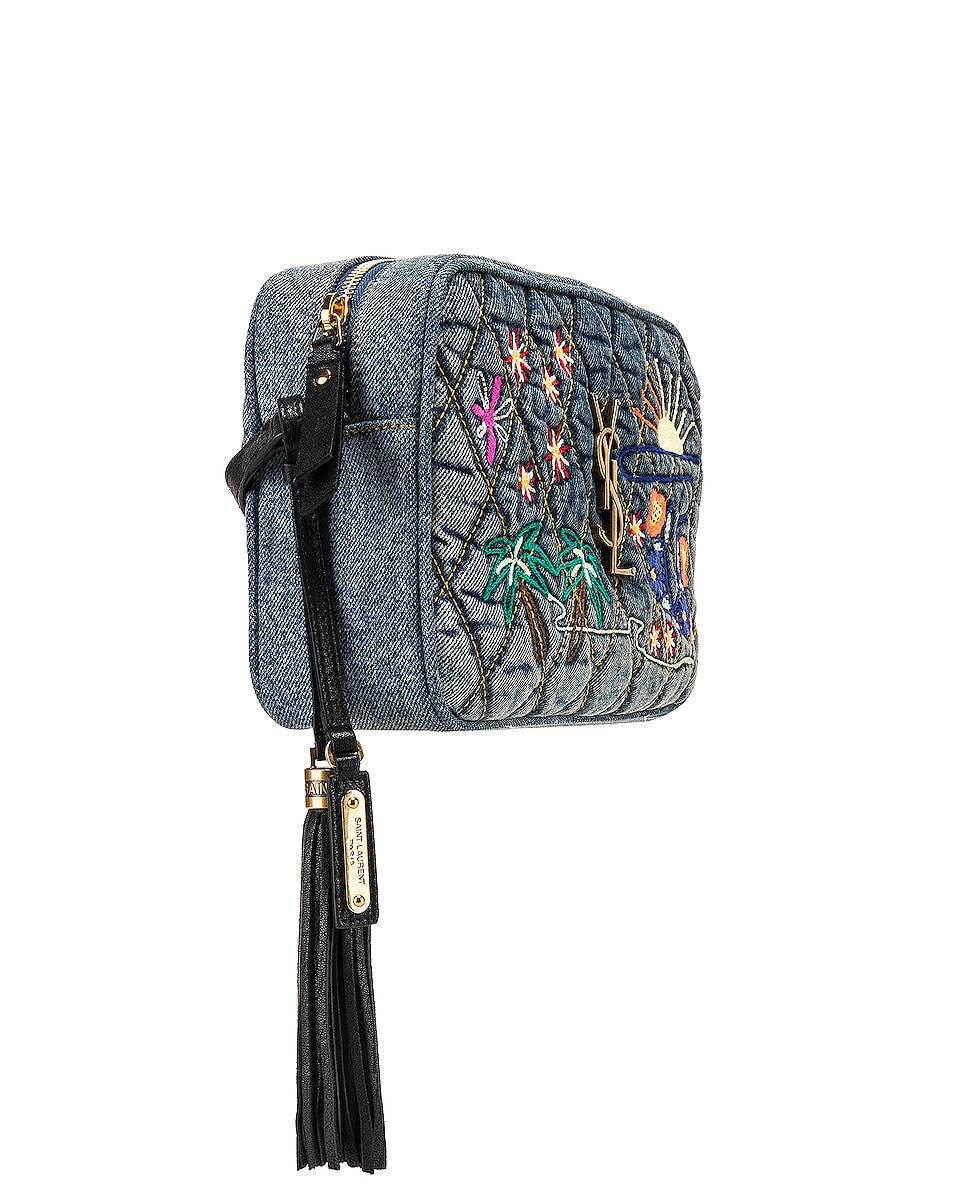 Image 4 of Saint Laurent Monogramme Lou Bag in Blue Jean & Black