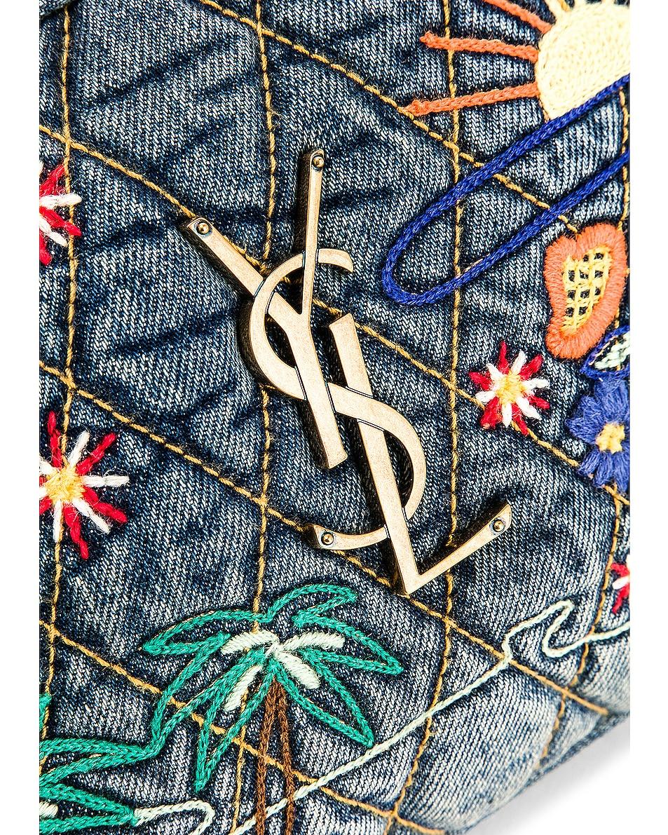 Image 8 of Saint Laurent Monogramme Lou Bag in Blue Jean & Black