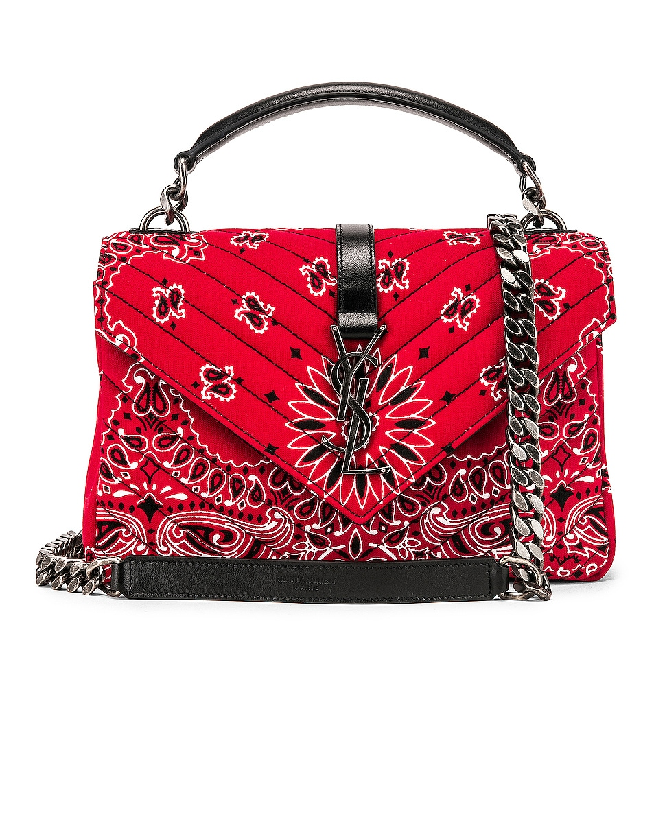 Image 1 of Saint Laurent Medium Monogramme College Bag in Red & White & Black